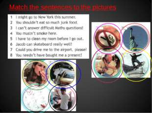Match the sentences to the pictures
