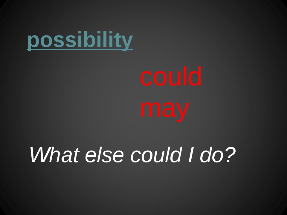 possibility could may What else could I do?