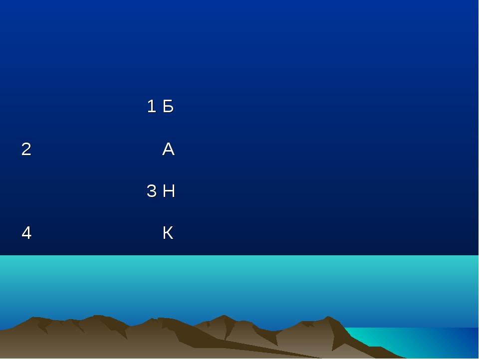 1 Б 2 А 3 Н 4 К