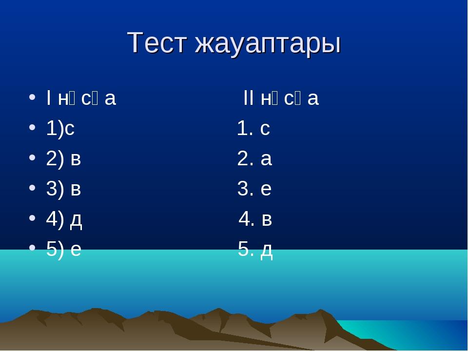 Тест жауаптары І нұсқа ІІ нұсқа 1)с 1. с 2) в 2. а 3) в 3. е 4) д 4. в 5) е 5...