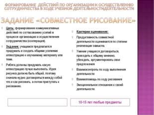 10-15 лет любые предметы Цель: формирование коммуникативных действий по согла