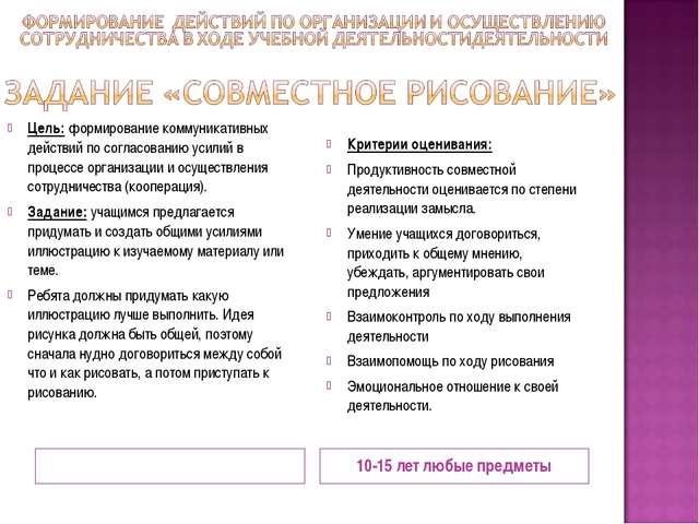 10-15 лет любые предметы Цель: формирование коммуникативных действий по согла...