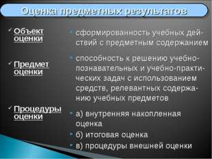 Объект оценки Предмет оценки Процедуры оценки сформированность учебных дей-ст
