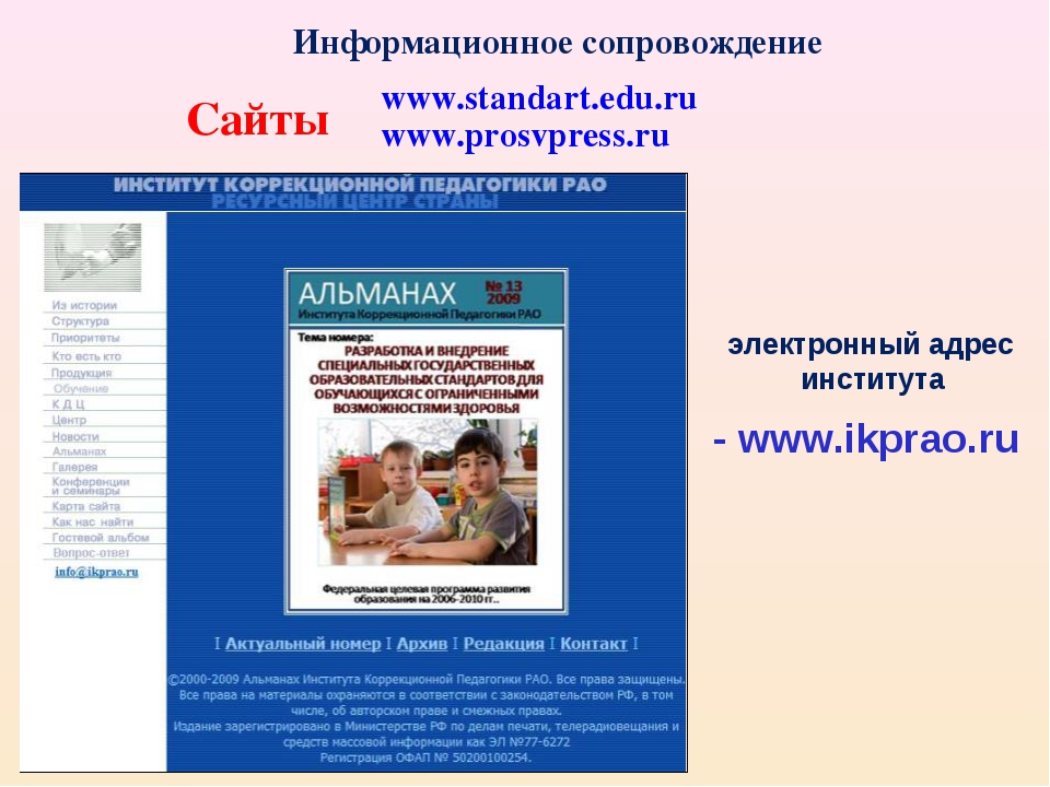Информационное сопровождение Сайты www.standart.edu.ru www.prosvpress.ru элек...