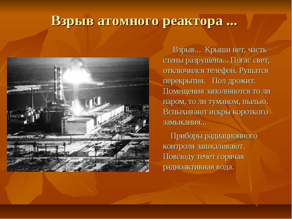 Взрыв атомного реактора ... Взрыв... Крыши нет, часть стены разрушена... Пога...