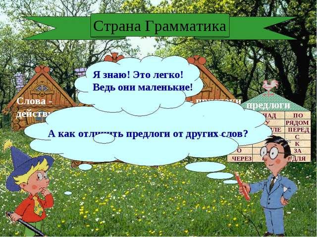 Слова - действия Слова - признаки Слова - предметы предлоги Страна Грамматика