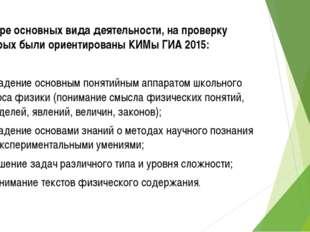 Четыре основных вида деятельности, на проверку которых были ориентированы КИМ