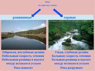 Реки (по характеру течения) Широкая, неглубокая долина Узкая, глубокая долина