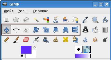 Инструменты преобразования на панели инструментов GIMP