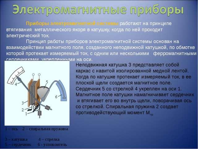 Приборы электромагнитной системы работают на принципе втягивания металлическ...
