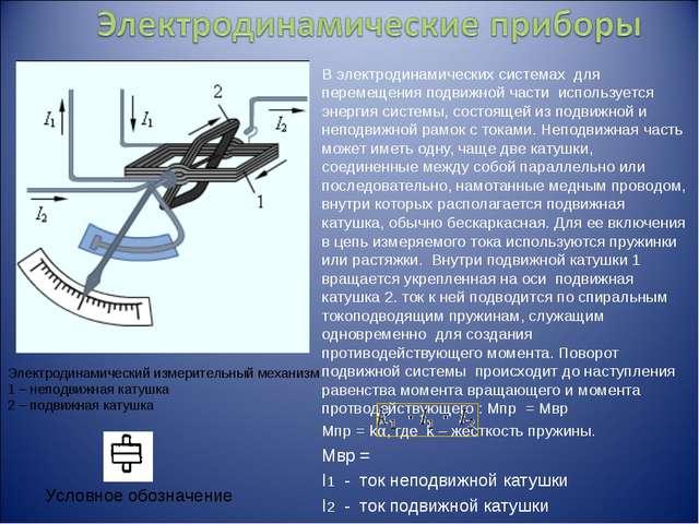 В электродинамических системах для перемещения подвижной части используется э...