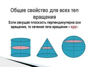 Если секущая плоскость перпендикулярна оси вращения, то сечение тела вращения