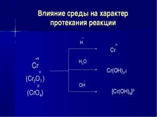 Влияние среды на характер протекания реакции +6 Cr 2- (Cr2O7 ) 2- (CrO4) + H