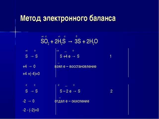 Метод электронного баланса +4 -2 +1 -2 0 SO2 + 2H2S → 3S + 2H2O +4 0 +4 _ 0 S...