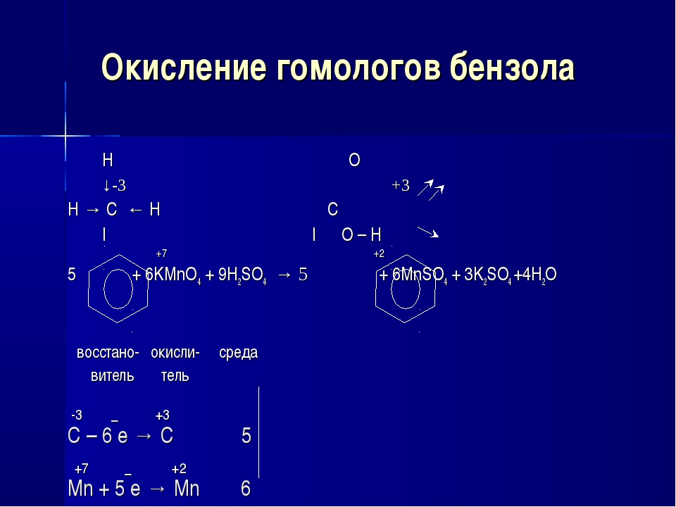 Окисление гомологов бензола H O ↓-3 +3 H → C ← H C | | O – H +7 +2 5 + 6KMnO4...