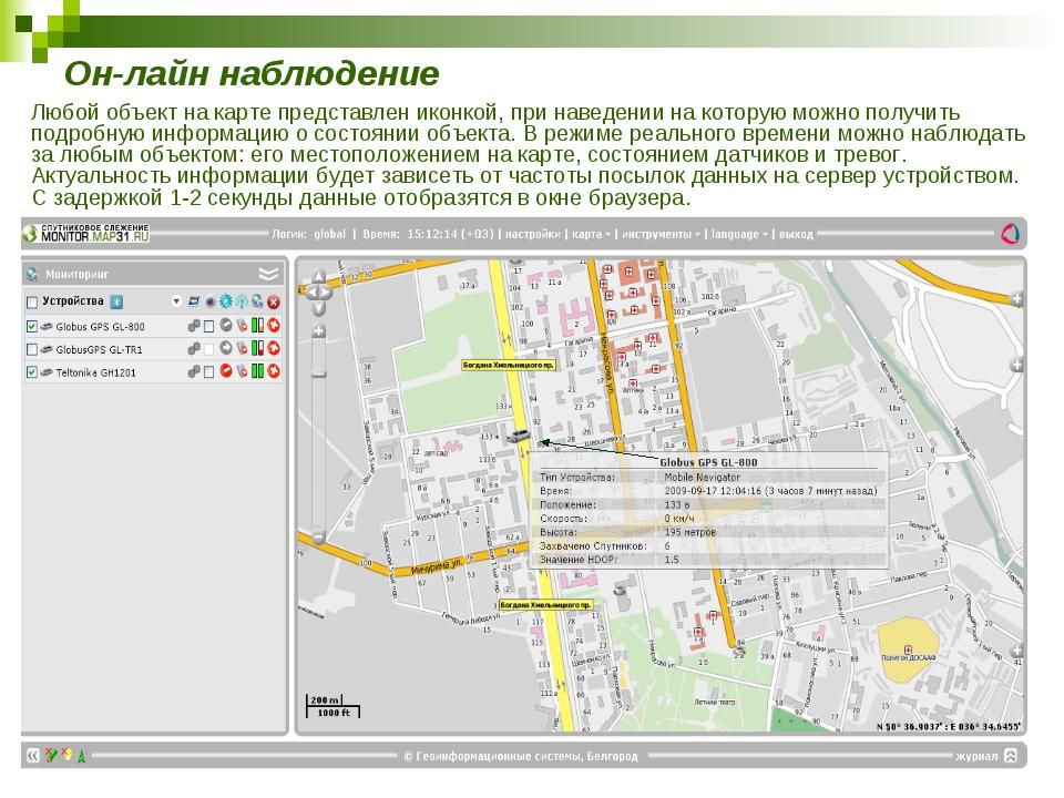 Он-лайн наблюдение Любой объект на карте представлен иконкой, при наведении н...