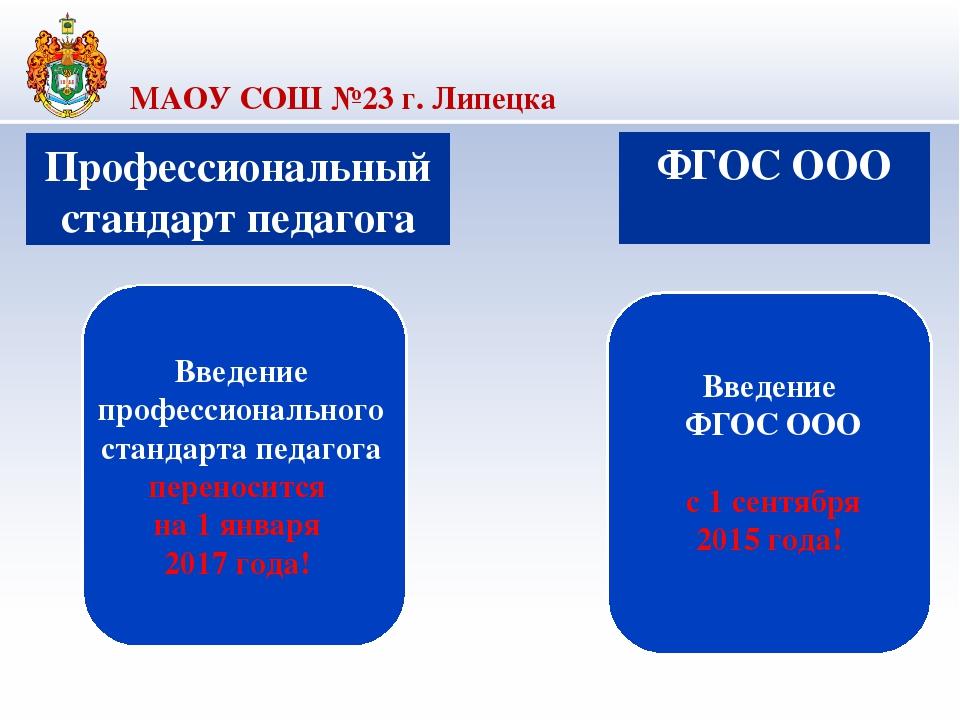 МАОУ СОШ №23 г. Липецка Профессиональный стандарт педагога Введение професси...
