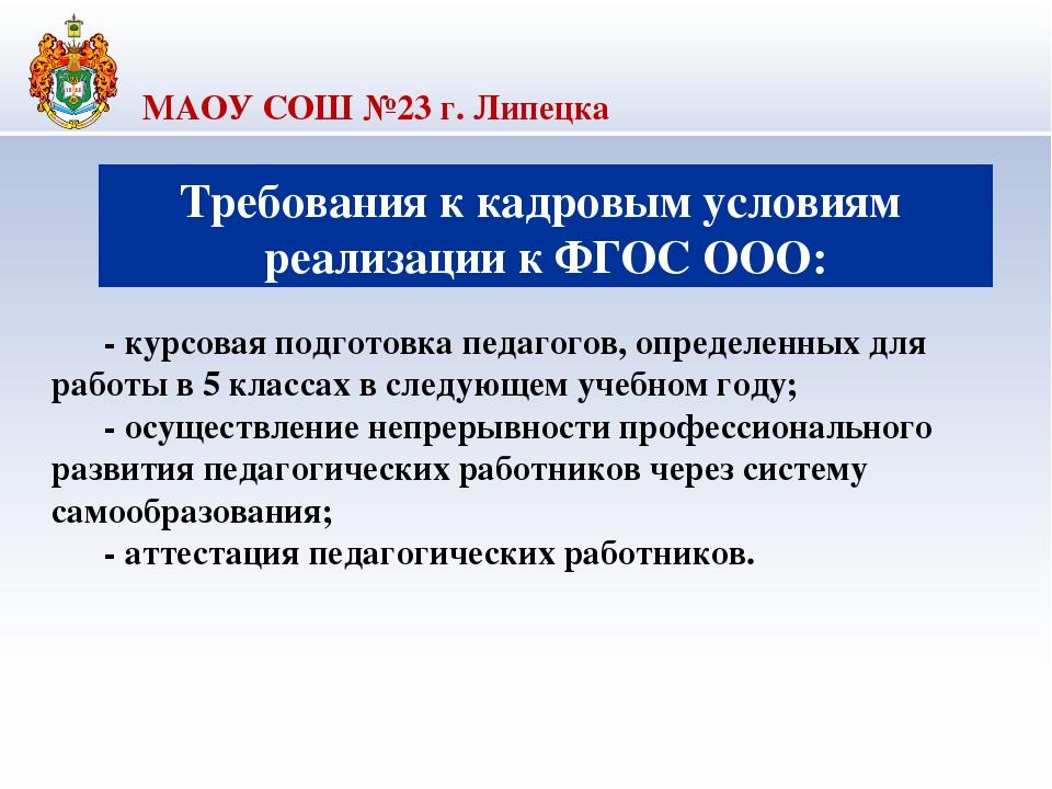 МАОУ СОШ №23 г. Липецка Требования к кадровым условиям реализации к ФГОС ООО...
