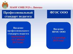 МАОУ СОШ №23 г. Липецка Профессиональный стандарт педагога Введение професси