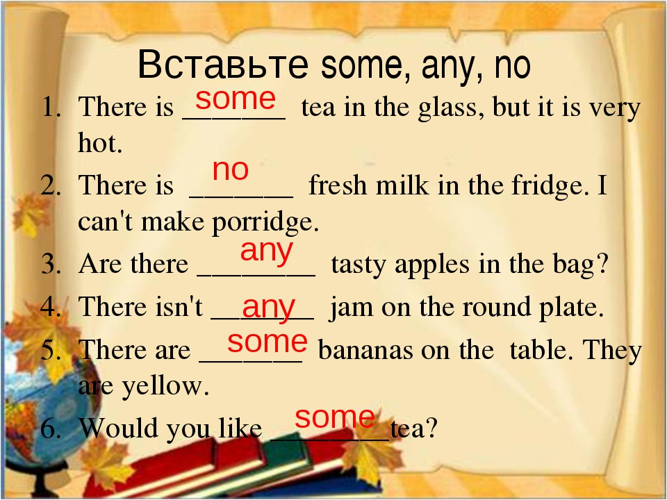 Вставьте some, any, no There is _______ tea in the glass, but it is very hot...