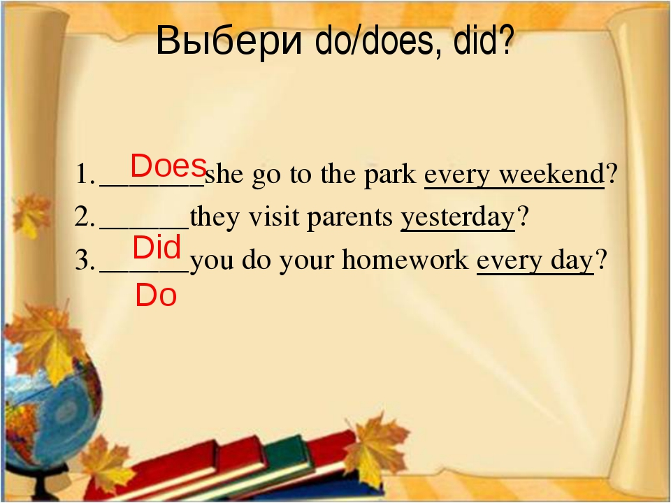 Выбери do/does, did? _______she go to the park every weekend? ______they vis...