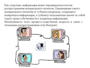 Как следствие, информация может тиражироваться путем распространения материал