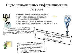 Виды национальных информационных ресурсов библиотечные и архивные ресурсы, на