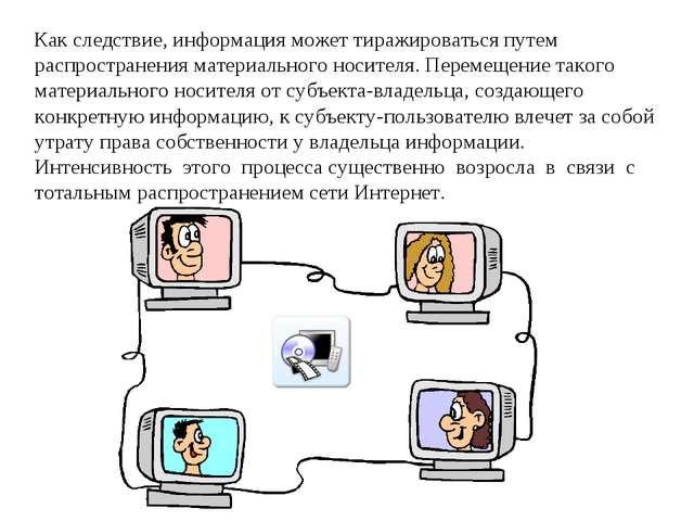 Как следствие, информация может тиражироваться путем распространения материал...