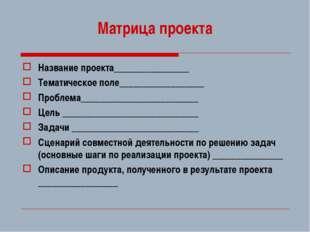 Матрица проекта Название проекта________________ Тематическое поле___________