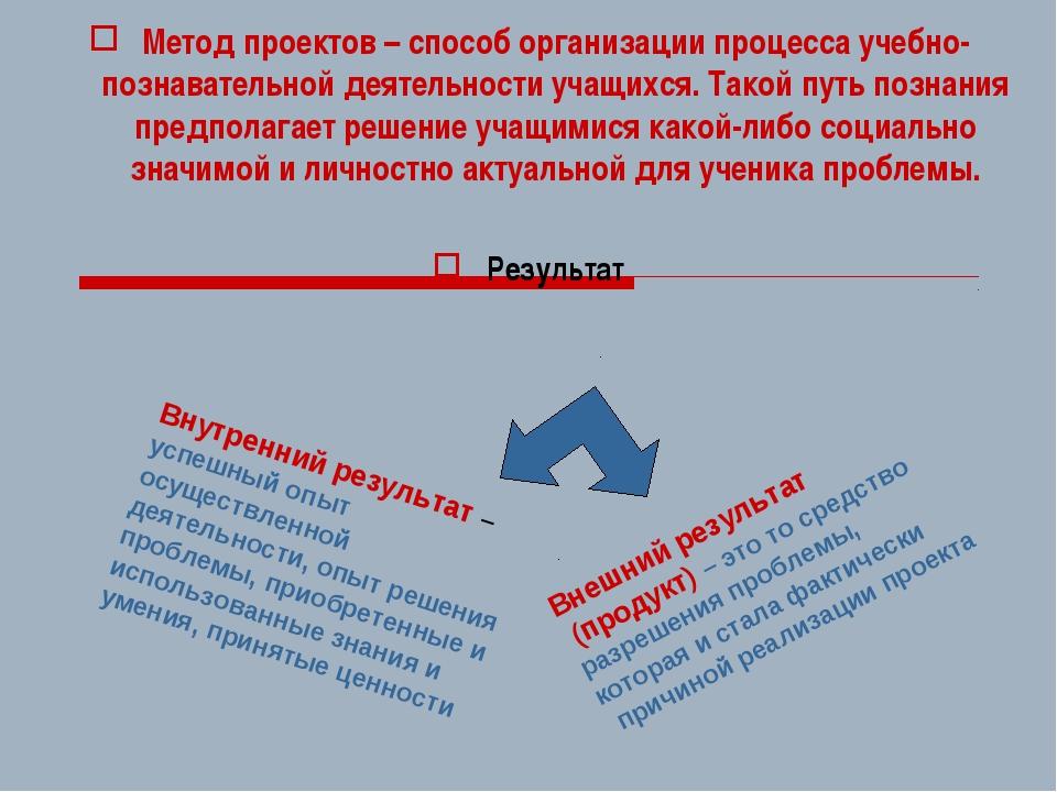 Метод проектов – способ организации процесса учебно-познавательной деятельнос...