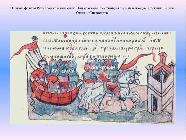 Первым флагом Руси был красный флаг. Под красным полотнищем ходили в походы д...