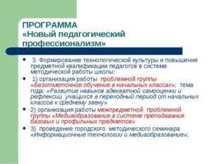 ПРОГРАММА «Новый педагогический профессионализм» 3. Формирование технологичес