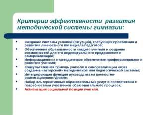 Критерии эффективности развития методической системы гимназии: Создание систе