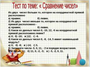 Из двух чисел больше то, которое на координатной прямой расположено а) правее