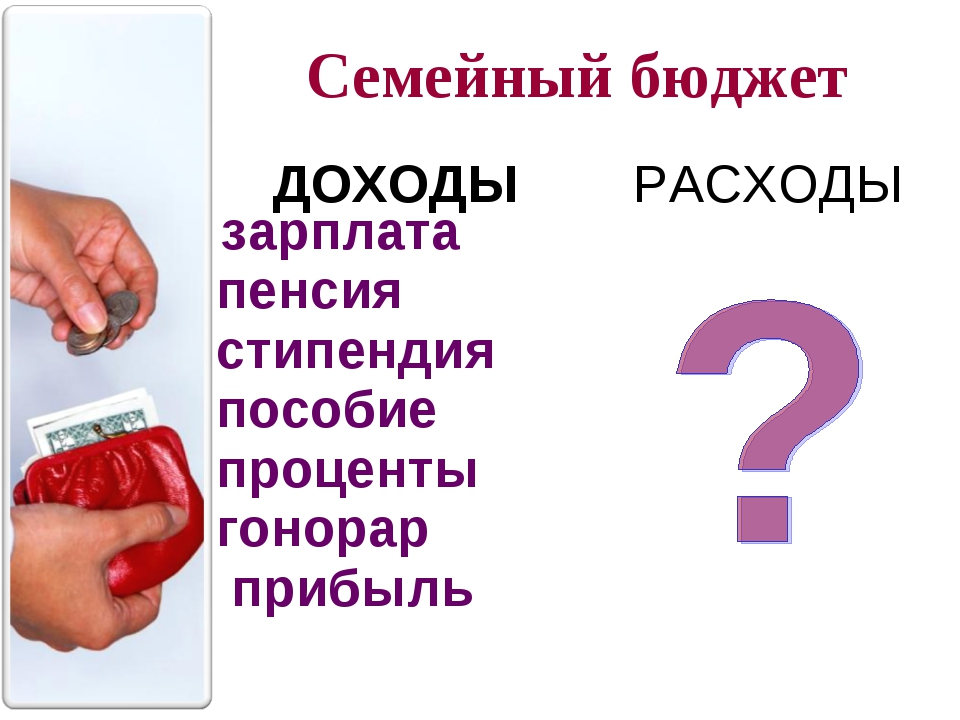ДОХОДЫ РАСХОДЫ Семейный бюджет ДохоДОдыРасходы зарплата пенсия стипендия по...