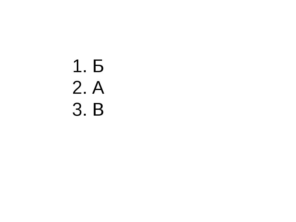 1. Б 2. А 3. В