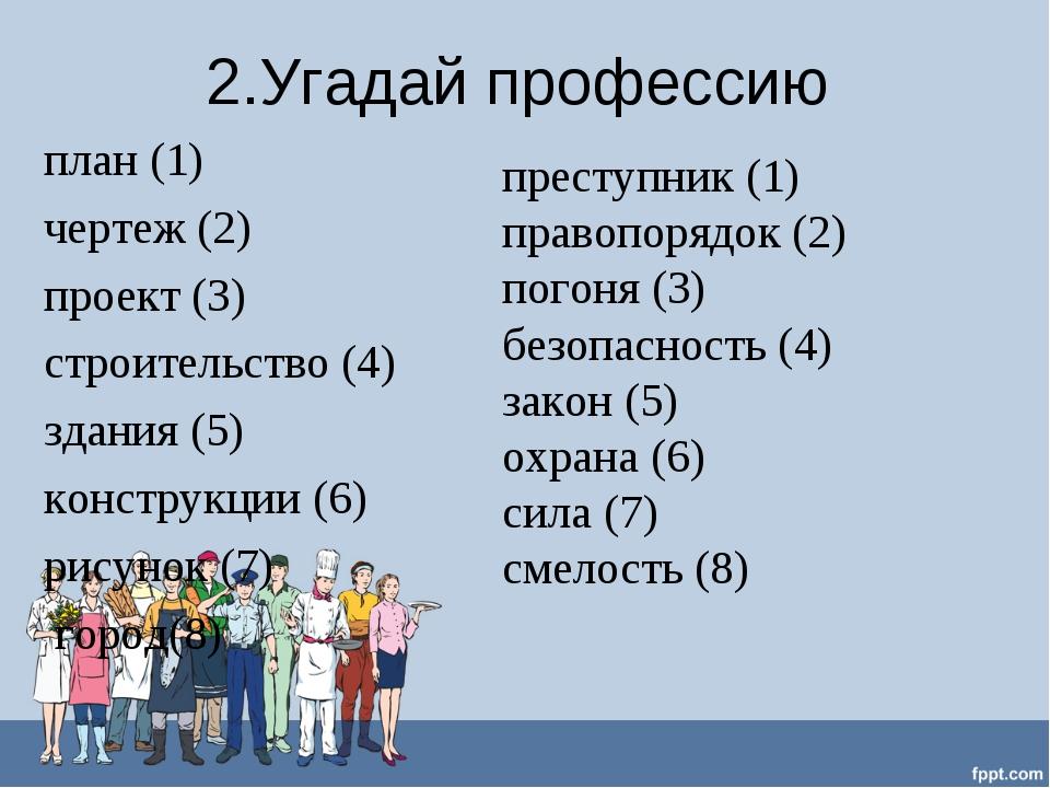 2.Угадай профессию план (1) чертеж (2) проект (3) строительство (4) здания (5...