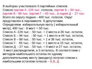 В выборах участвовало 5 партийных списков. Список партии А -126 тыс. голосов,