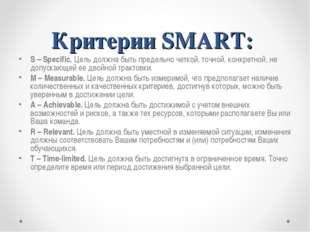 Критерии SMART: S – Specific. Цель должна быть предельно четкой, точной, конк