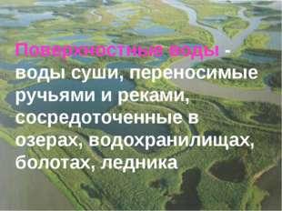 Поверхностные воды - воды суши, переносимые ручьями и реками, сосредоточенные