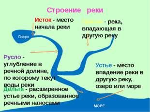 Строение реки Озеро Исток - место начала реки Русло - углубление в речной дол
