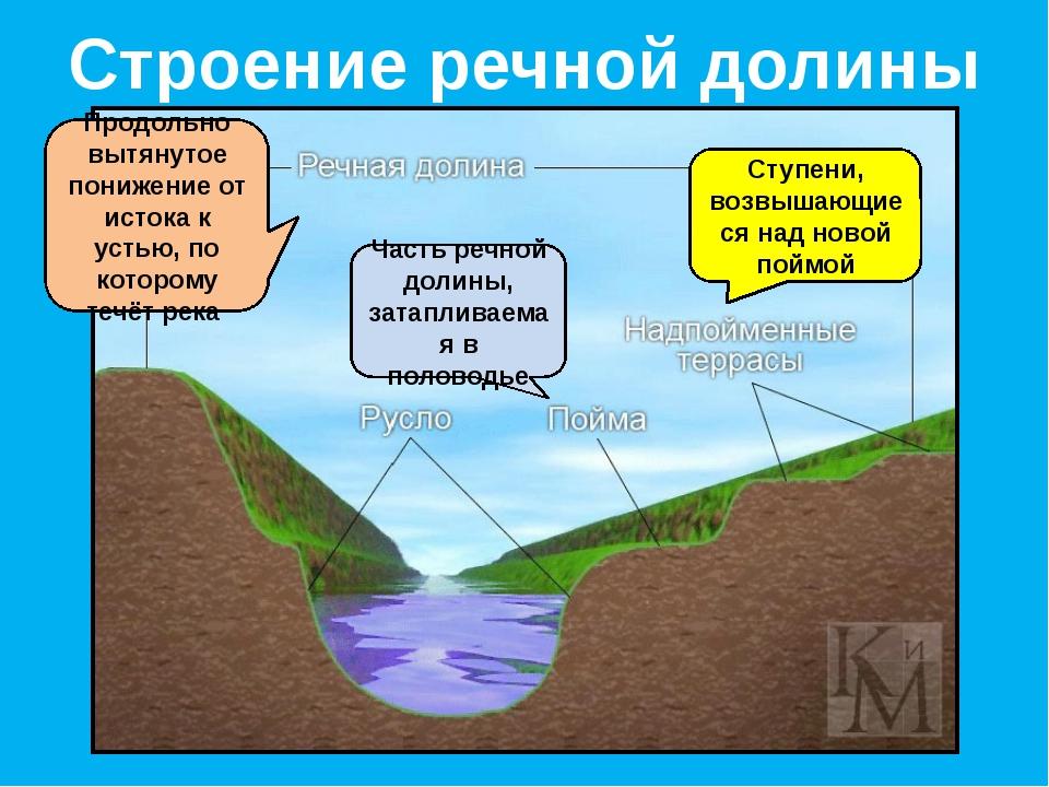 Строение речной долины Часть речной долины, затапливаемая в половодье Ступени...