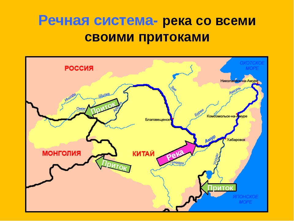 Речная система- река со всеми своими притоками Река Приток Приток Приток