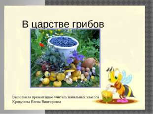 В царстве грибов Выполнила презентацию учитель начальных классов Крикунова Е