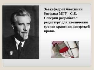 Завкафедрой биохимии биофака МГУ С.Е. Северин разработал рецептуру для увелич