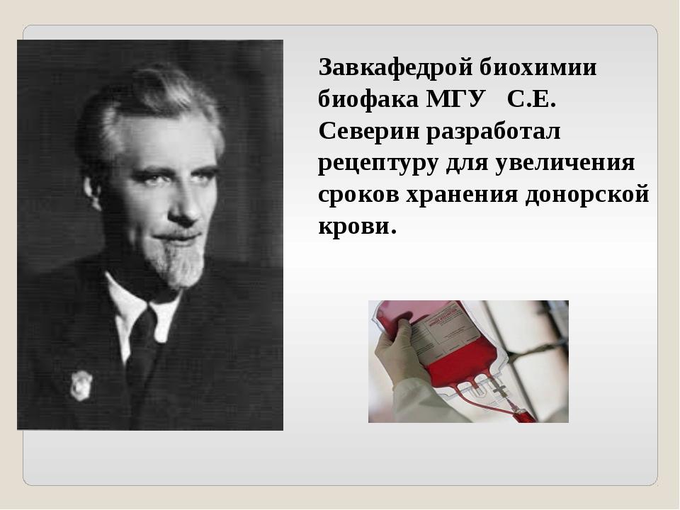Завкафедрой биохимии биофака МГУ С.Е. Северин разработал рецептуру для увелич...