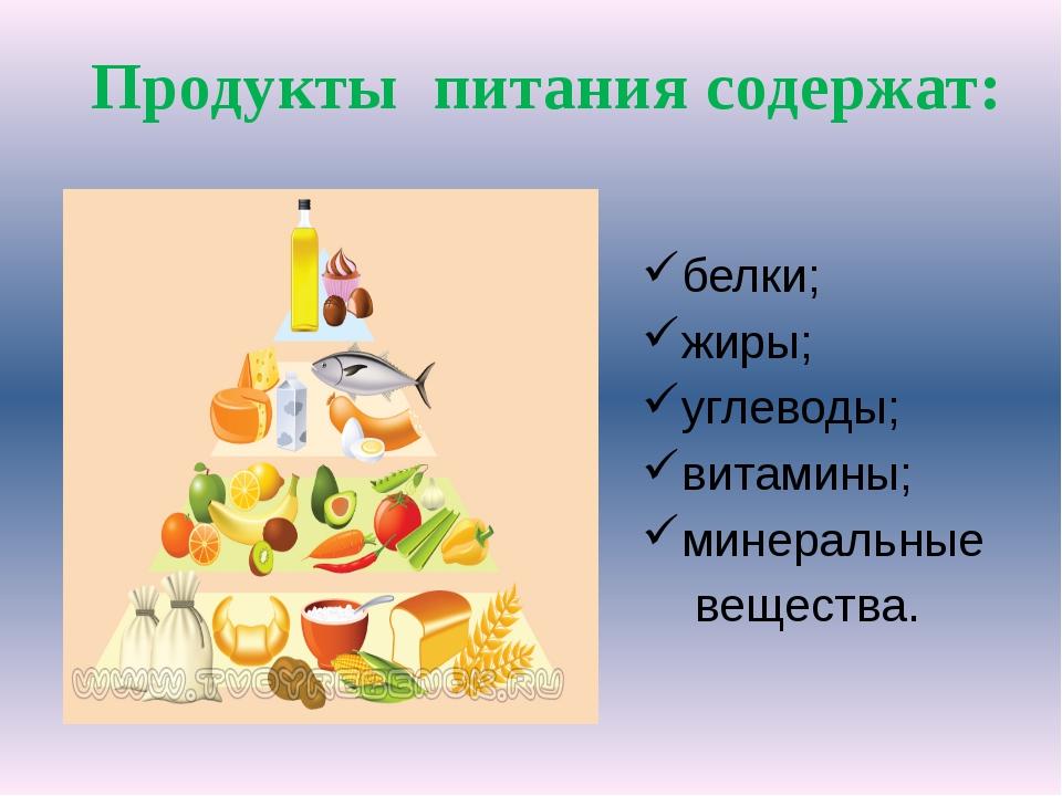 белки; жиры; углеводы; витамины; минеральные вещества. Продукты питания содер...