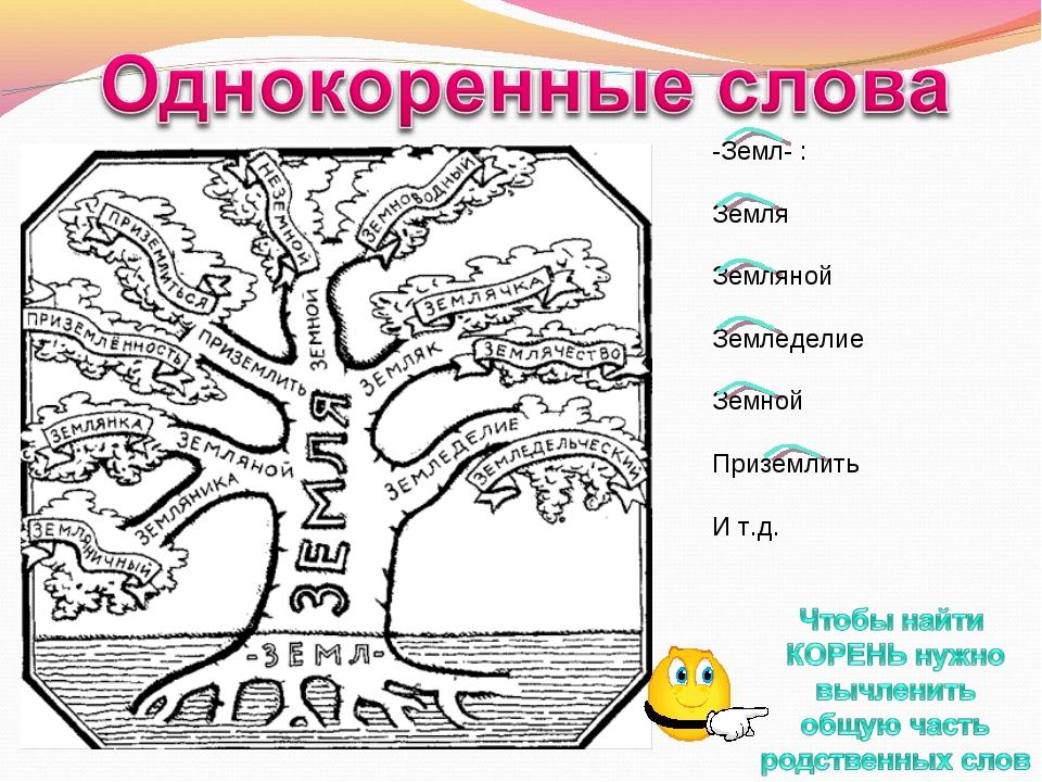 -Земл- : Земля Земляной Земледелие Земной Приземлить И т.д.