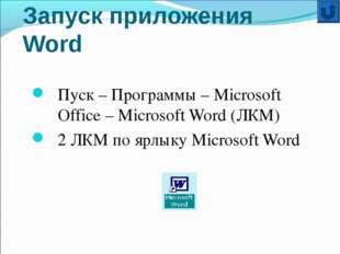 Запуск приложения Word Пуск – Программы – Microsoft Office – Microsoft Word (