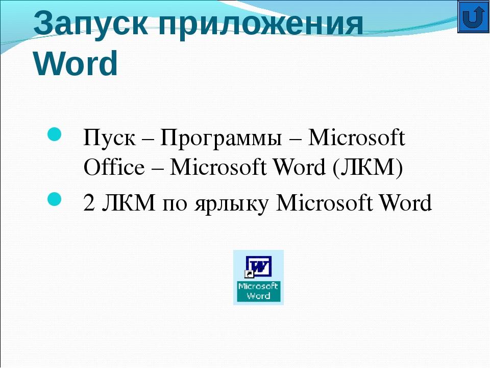 Запуск приложения Word Пуск – Программы – Microsoft Office – Microsoft Word (...